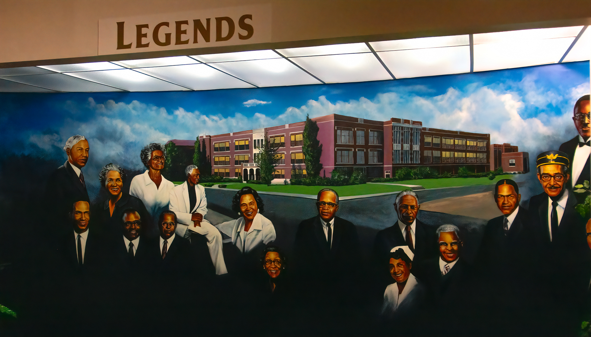 A mural of  Legends , at the entrance of the museum.