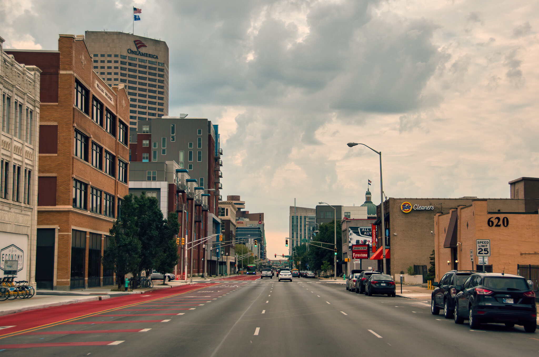 Capitol Avenue, looking south in Downtown Indianapolis.