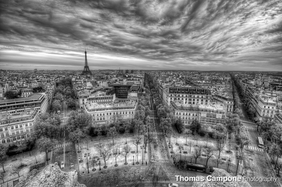 Paris from the Arc de Triumph  1/6 Sec - f11 - ISO 100 - 16mm (HDR)
