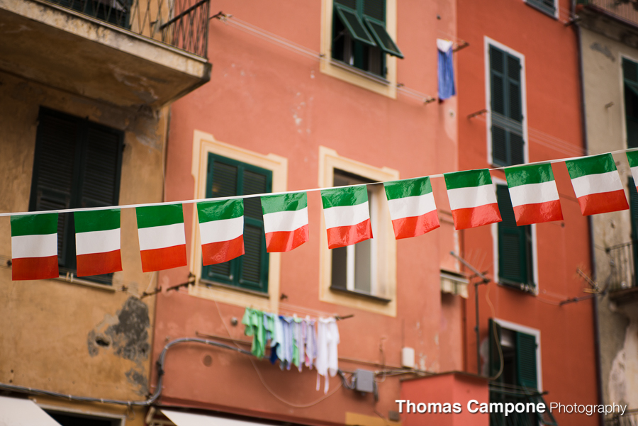 Italian flag decorations in the town.