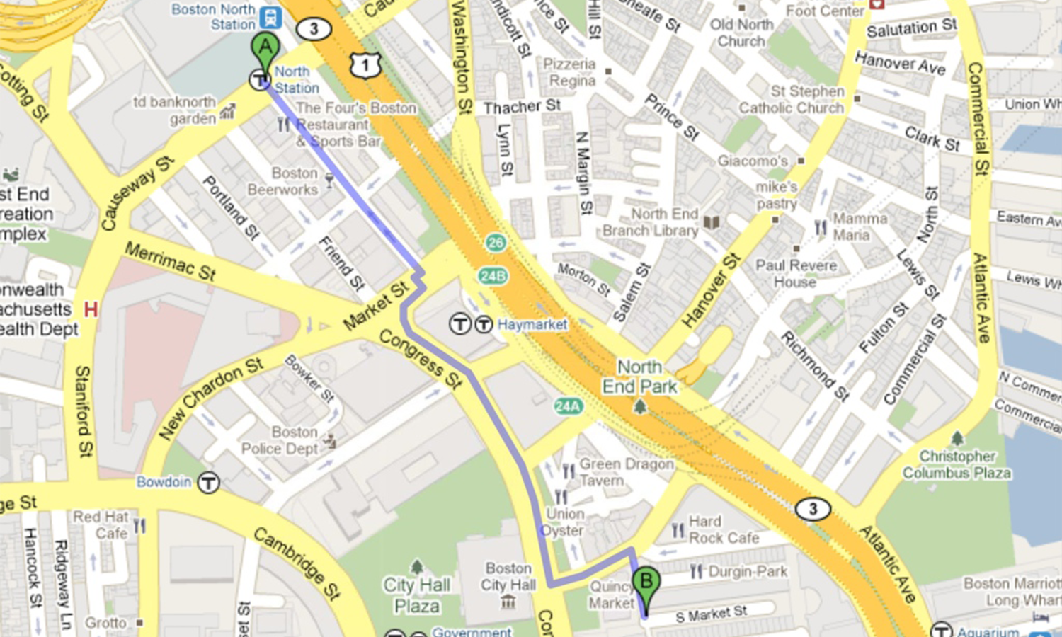 We were tasked with following her journey from North Station to Quincy Market in Boston.