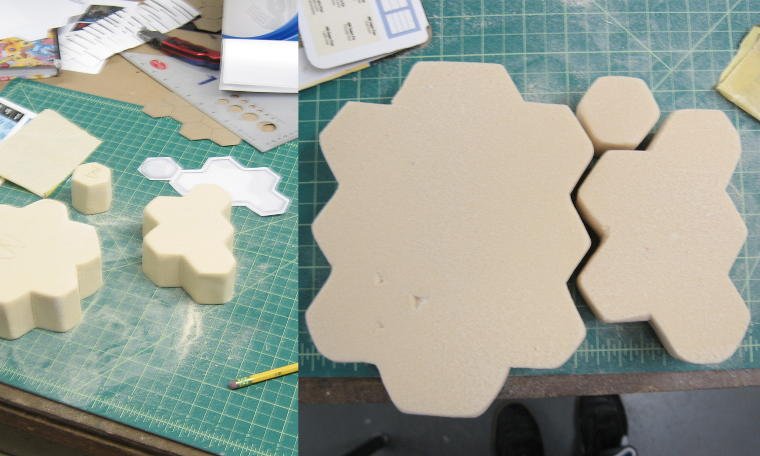 Foam cut to mock up pieces.