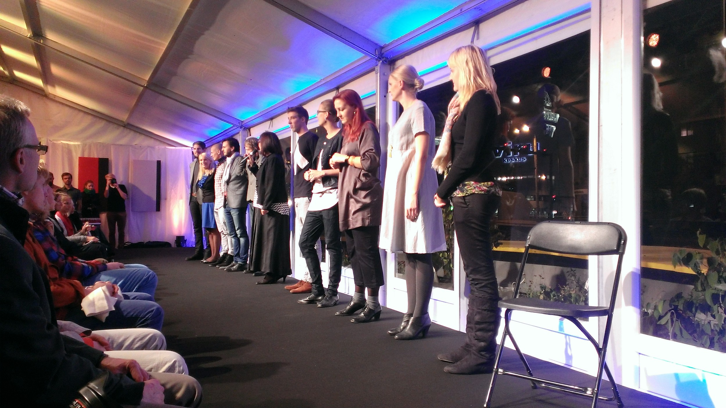 The entrants in the annual design competition, which preceded the fashion show