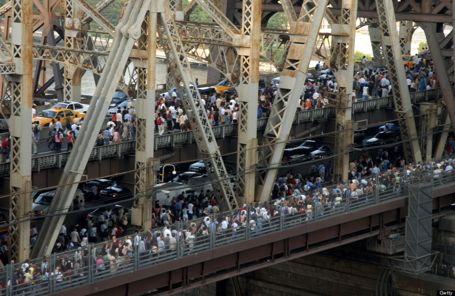 Without power, cars and car-less commuters are stranded.