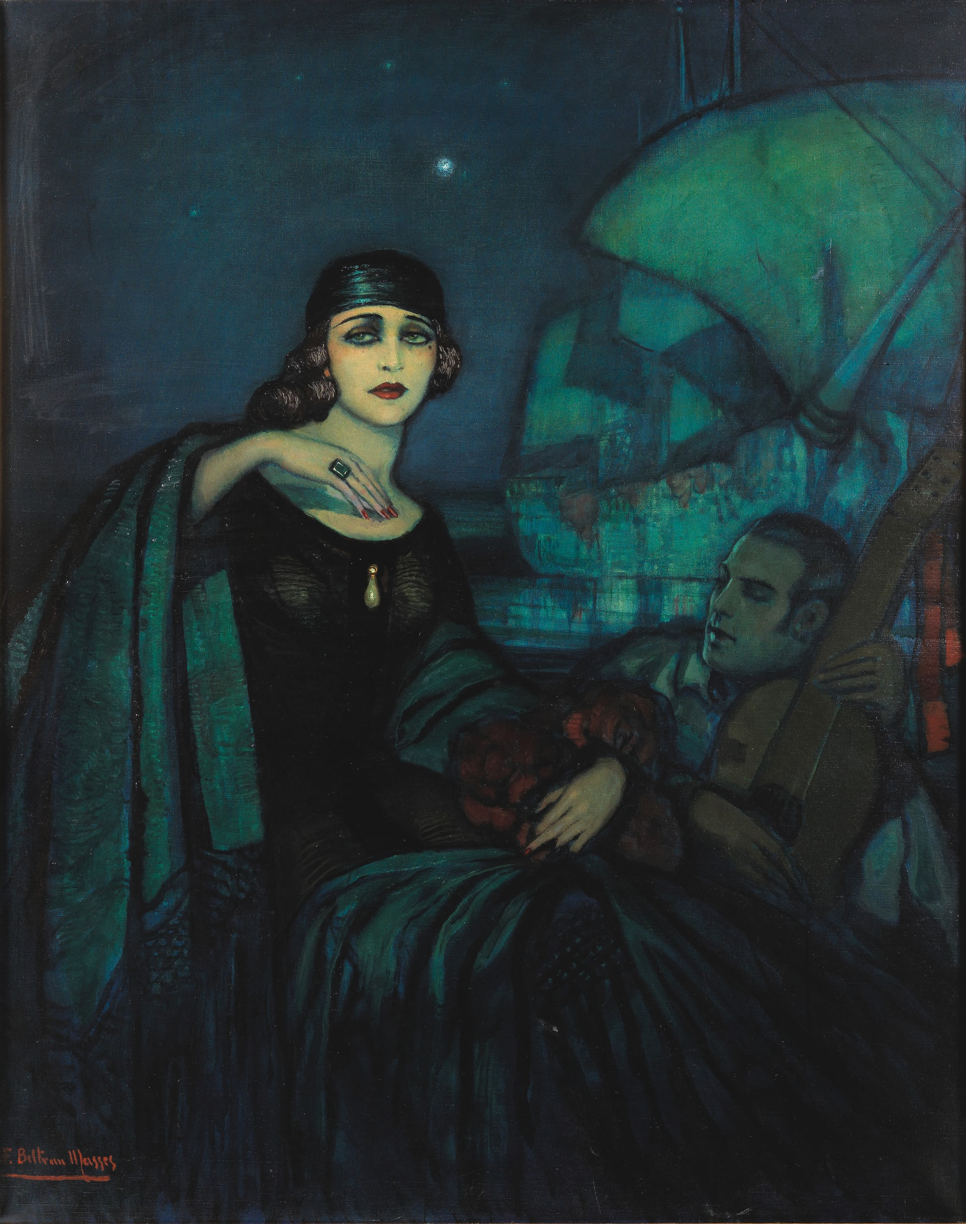 This painting by Federico Beltrán Masses depicts a reclining Valentino and his lover, Pola Negri, wearing the infamous ring