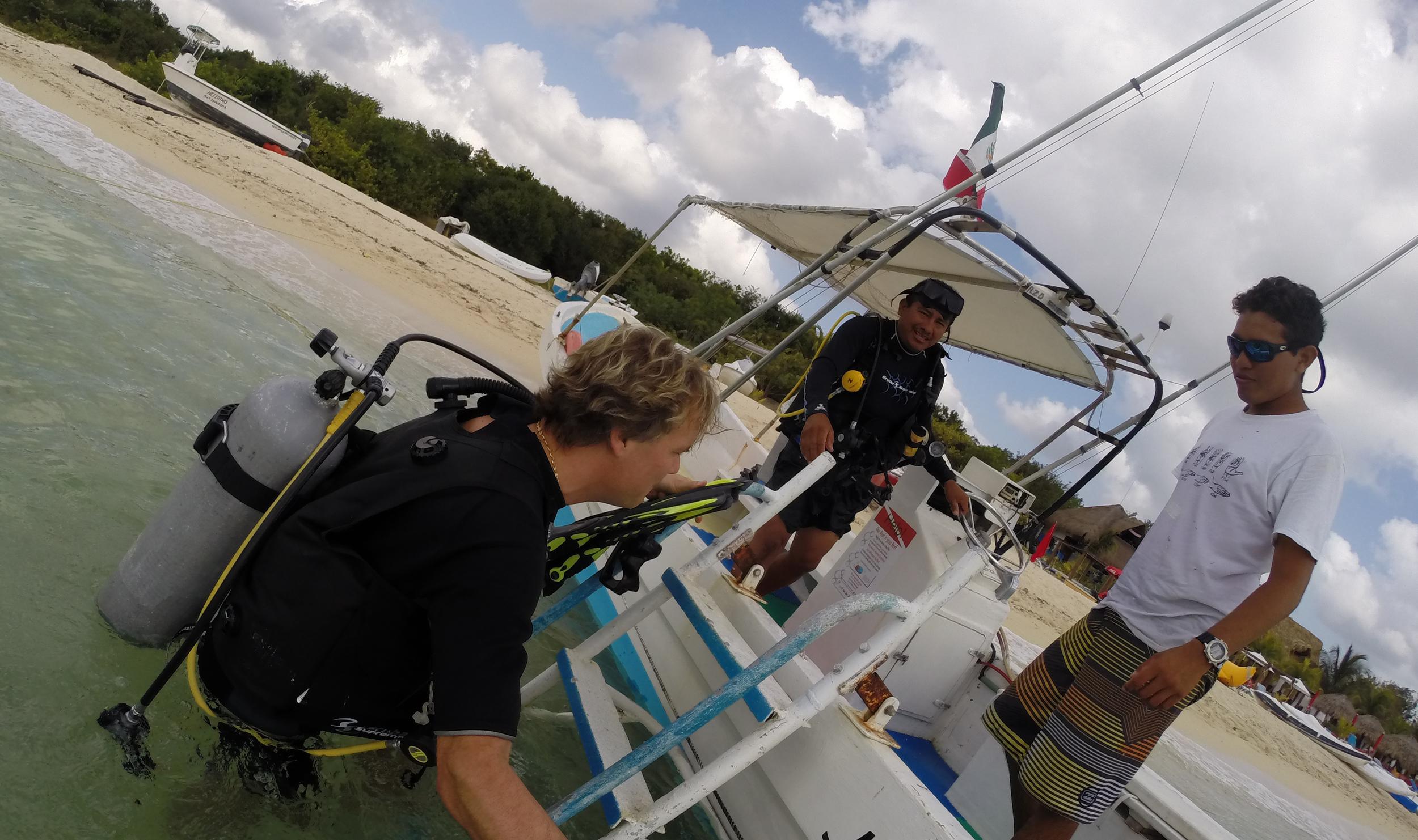 Boarding the boat