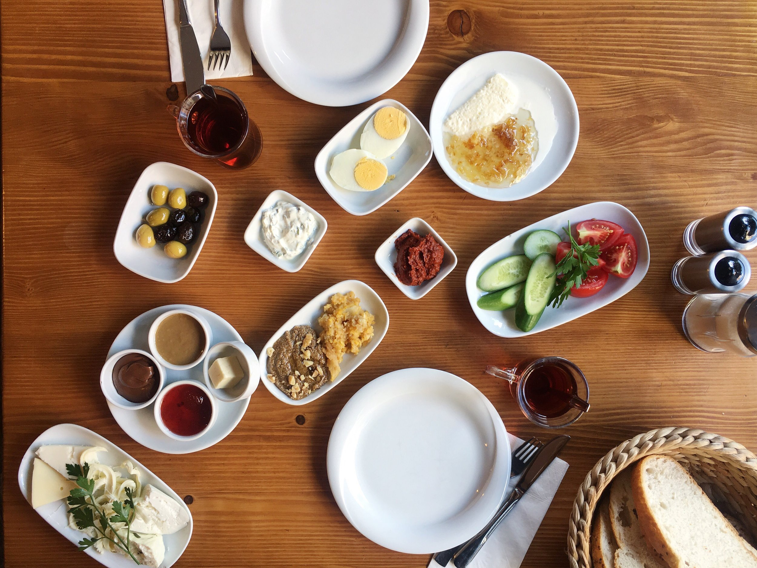 Breakfast at Van Kahvaltı Evi - I pride myself in making elaborate breakfasts for myself daily, but Turks are on another level. A table full of delicious spreads, local honey, and cheeses and refills of turkish tea. It is so so good. Visit Van Kahvaltı Evi