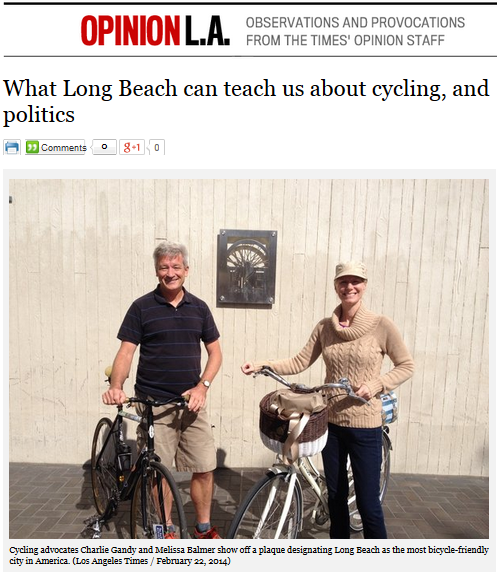 "Charlie Gandy Vice Chair of the California Bicycle Coalition and Women on Bikes California Director in the March 1 story ""What Long Beach can teach us about cycling and politics."""