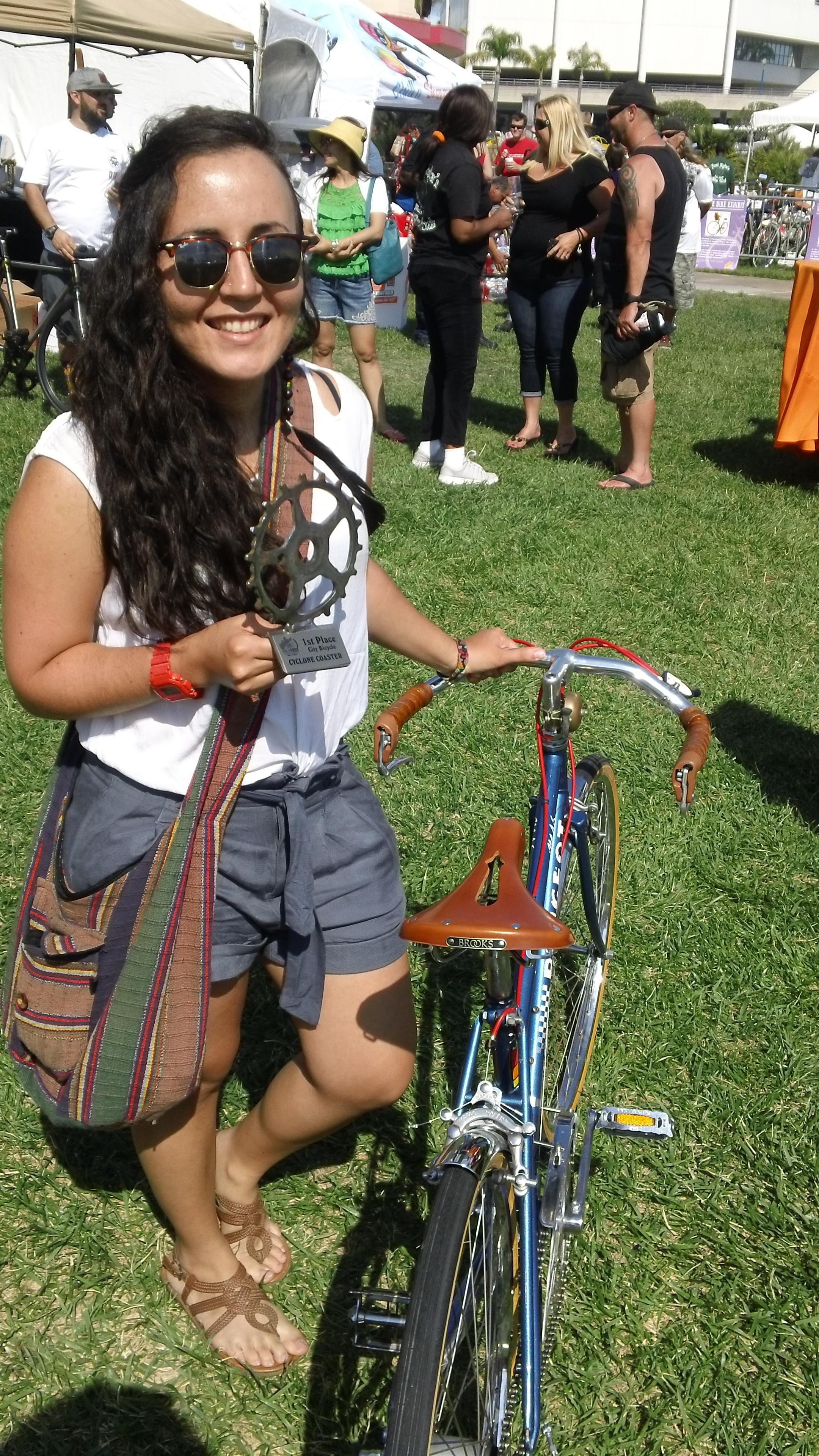 Sandrita Gabriela on her winning Peugot M46 Mixte