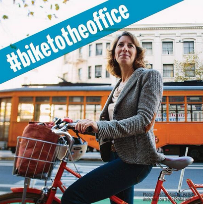Leah Shahum, the Executive Director of the San Francisco Bicycle Coalition in an image by Lisa Beth Anderson.
