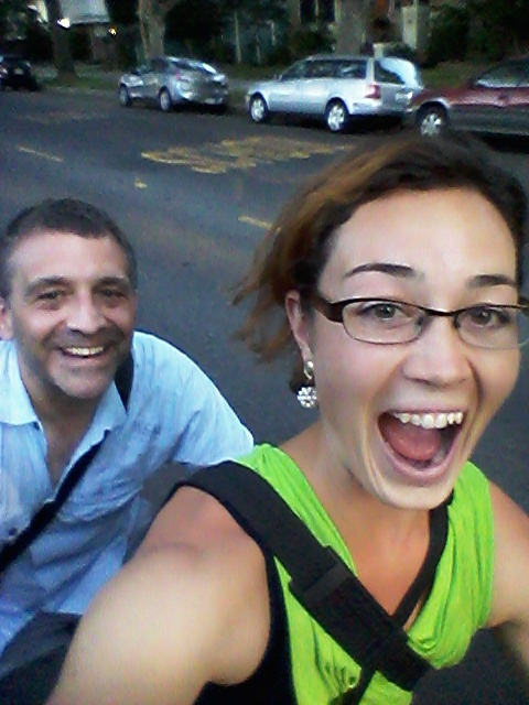 My friend, Greg, with me during his visit in July. We rode my tandem to the bus stop for him to catch a plane. We laughed the whole way there because it was so fun! Sorry it's such a grainy cell phone picture.