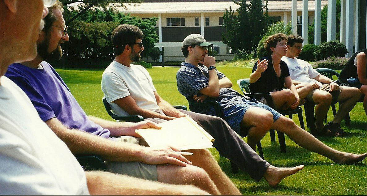 Susie Stephens speaks at the Thunderhead Retreat in Montecito CA. From left: Ron Reilly, Randy Neufeld, Tim Young, John Kaehny, Susie Stephens, and Chris Morfas.