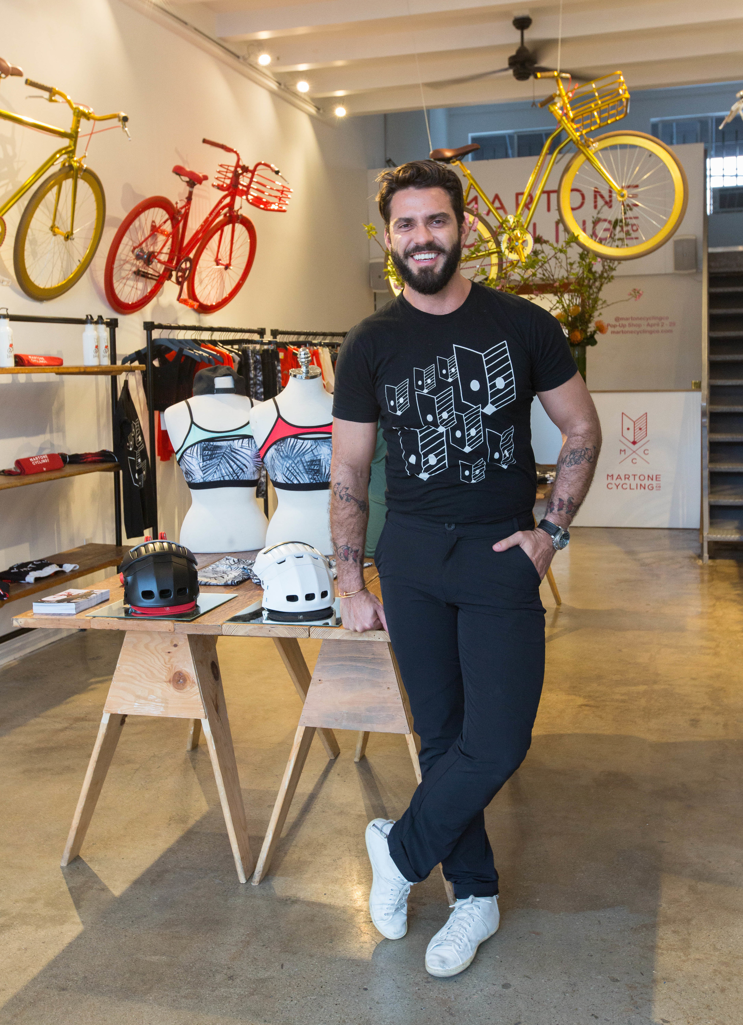 Lorenzo at April's Martone Cycling Co. Pop Up