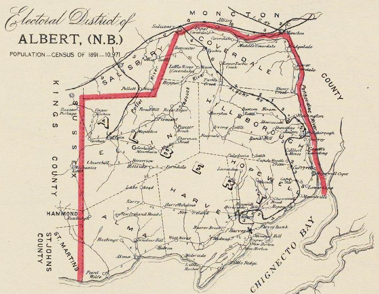 Map of Albert County