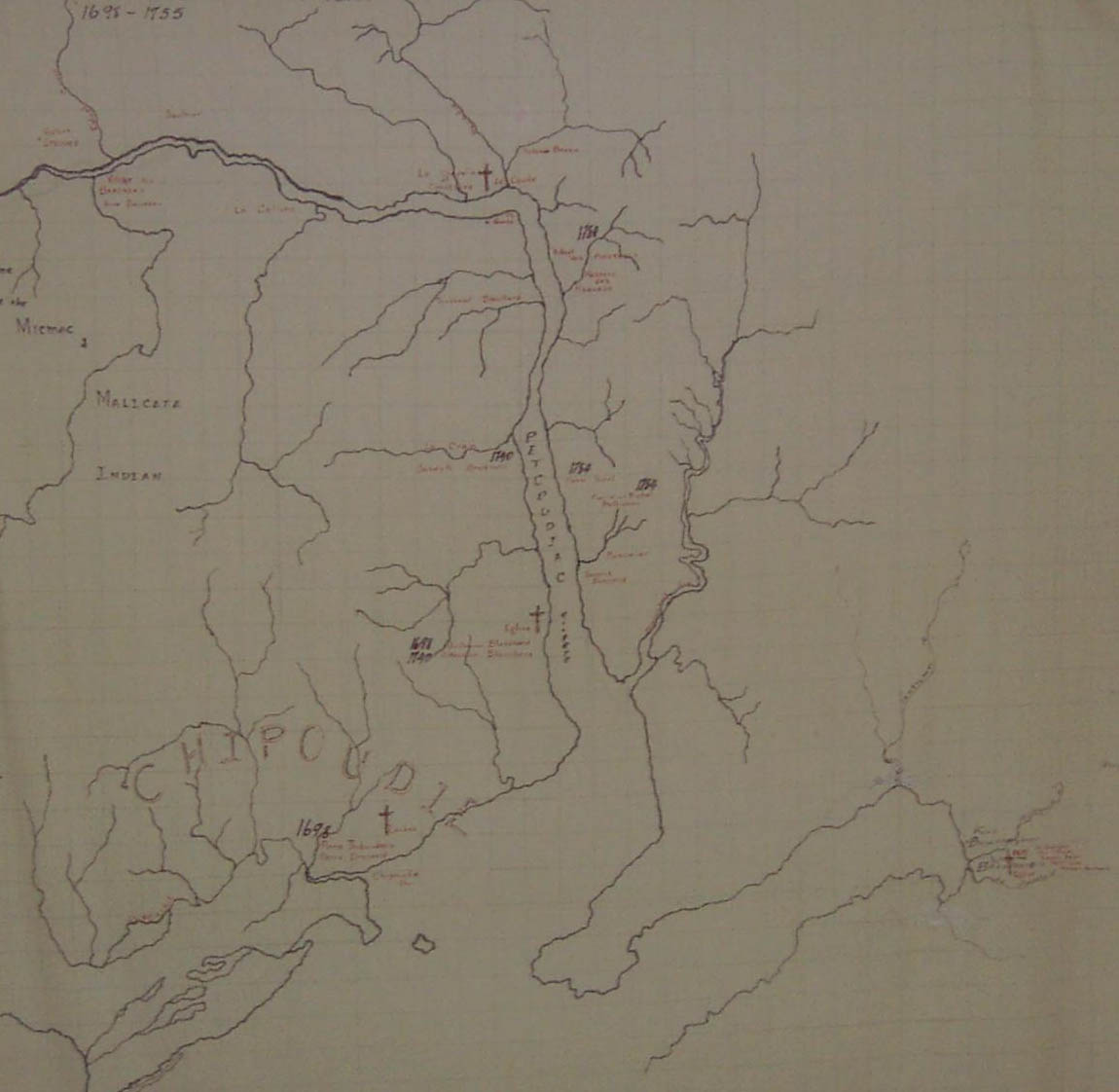 Map showing early Acadian Settlements in Albert County