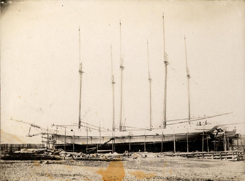 This photo is of the Vincent White under construction in Alma in 1918. The Vincent and its sister ship the Meredith (seen behind the Vincent) were built for C.T. White & Son Ltd. They were named for C.T. White's twin children.