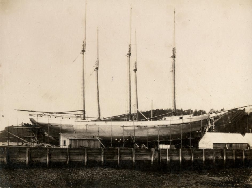 This photo is of the Meredith White under construction in Alma in 1918. The Meredith and its sister ship the Vincent (seen behind the Meredith) were built for C.T. White & Son Ltd. The 'White Ships' were skippered by Captain Trites, Captain Brown, and Captain Merriam. After they were launched they were loaded at Apple River, N.S. and sailed to South Africa.