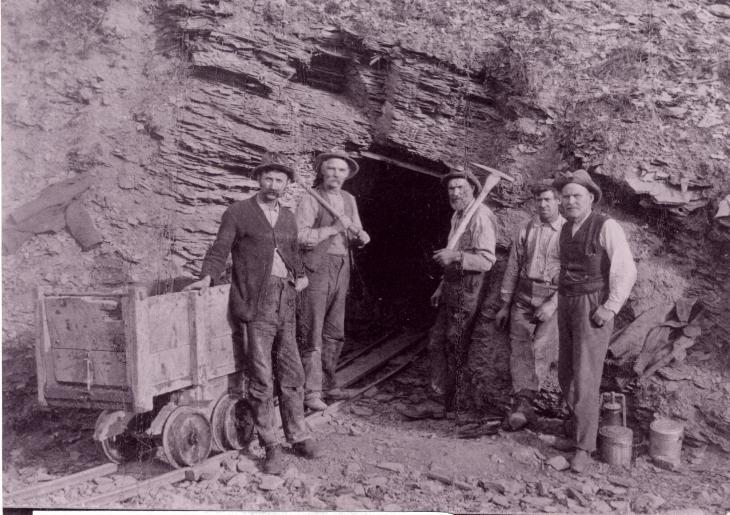 The entrance to an 'Albertite' mine in Albert Mines.   1860   Albert Mines, New Brunswick, Canada