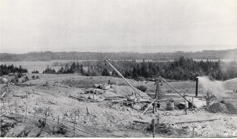 An unknown copper or manganese mine in the New Horton area. 1890 Harvey, New Brunswick, Canada
