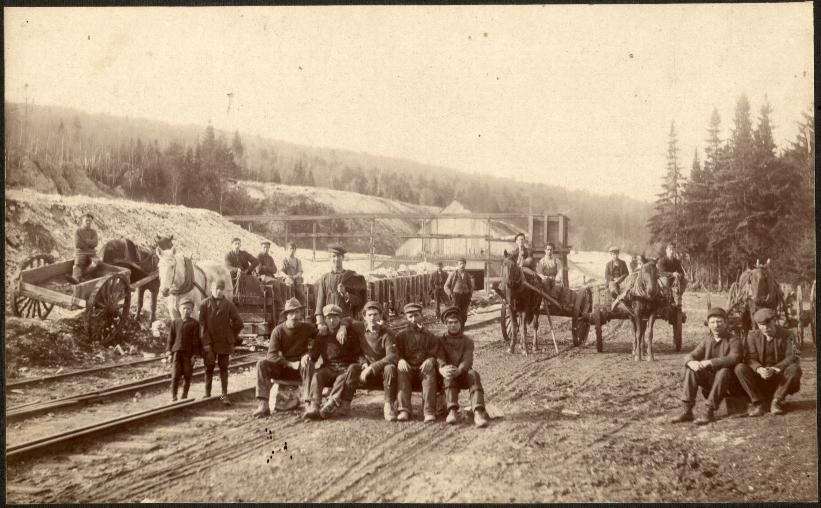 Photo of a loading area where train cars were loaded with gypsum and sent to the mill.   1890   Hillsborough, New Brunswick, Canada