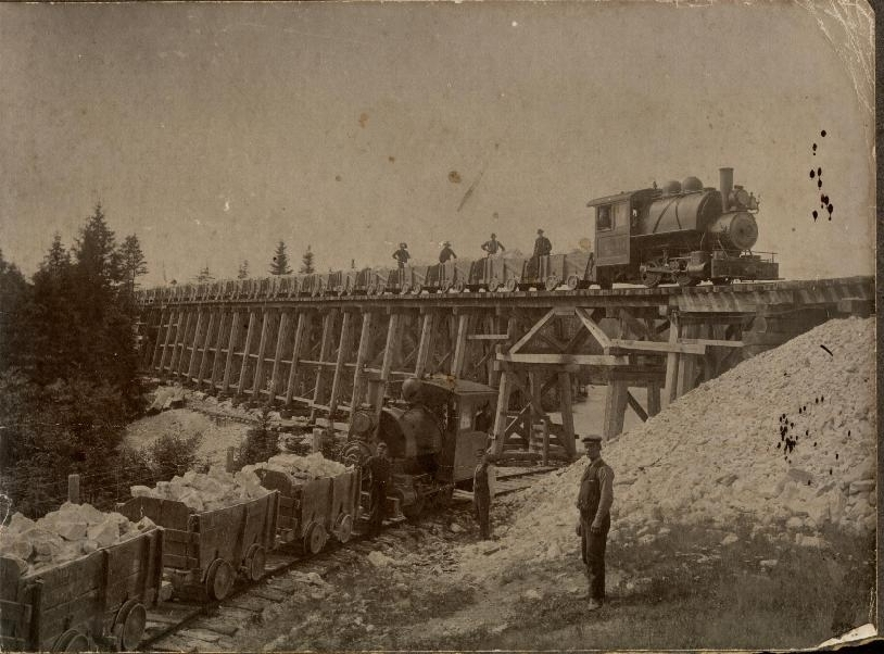 Train Engines and crews delivering gypsum to the Plaster Mill.   1907   Hillsborough, New Brunswick, Canada