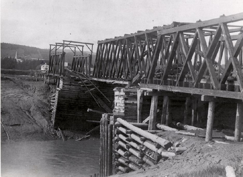 Remains of the Shepody River Railway Bridge following the collapsed of the bridge on June 30th 1894. 1 July 1894 Albert, New Brunswick, Canada