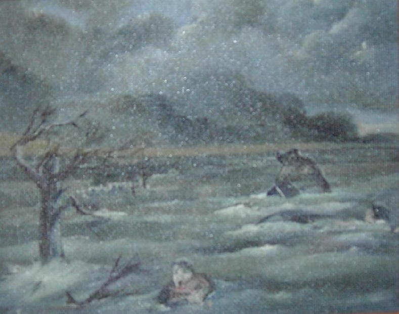 Painting depicting a man trying to avoid being swept away by flood waters caused by the Saxby Gale. 2003