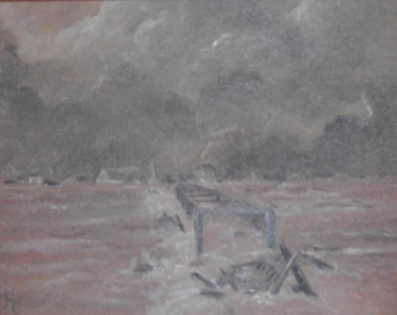 Painting depicting the destruction of Gunningsville Bridge in Riverview caused by the Saxby Gale. Riverview, Albert County, New Brunswick