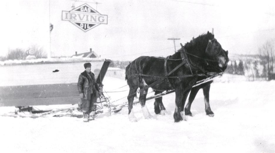 Horse and sleigh was used to transport students to the Riverside Consolidated School during the winter.