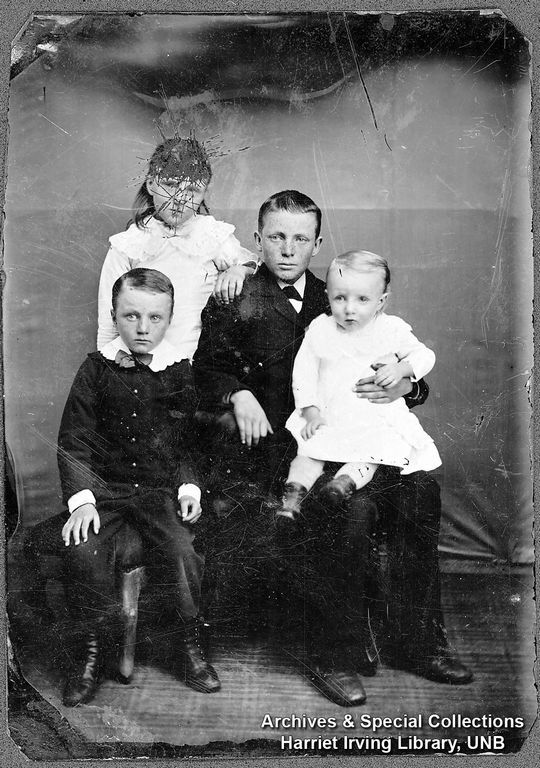 Bennett children: Richard Bedford, Evelyn Read, Ronald Vivian & George Horace   1885   Albert County, New Brunswick, Canada