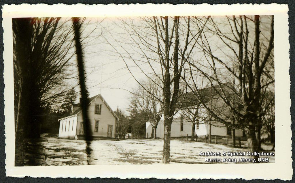 Hopewell Cape School and Baptist Church   Circa 1940   Hopewell Cape, Albert County, New Brunswick, Canada