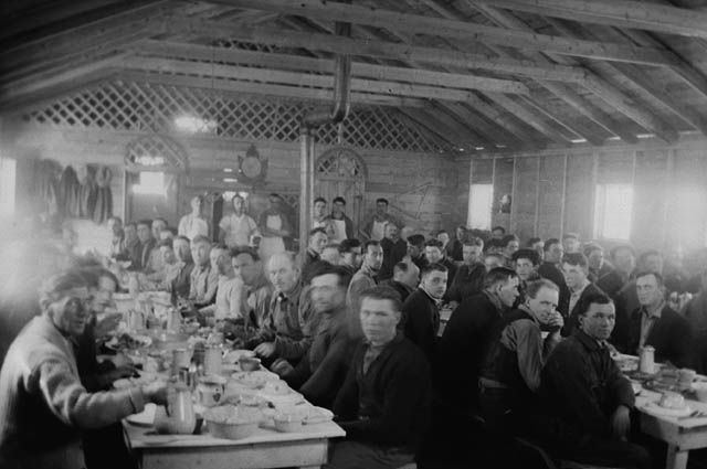 Workers at dinner - Relief Project No. 103 February 1934 Duck Mountain, Manitoba, Canada