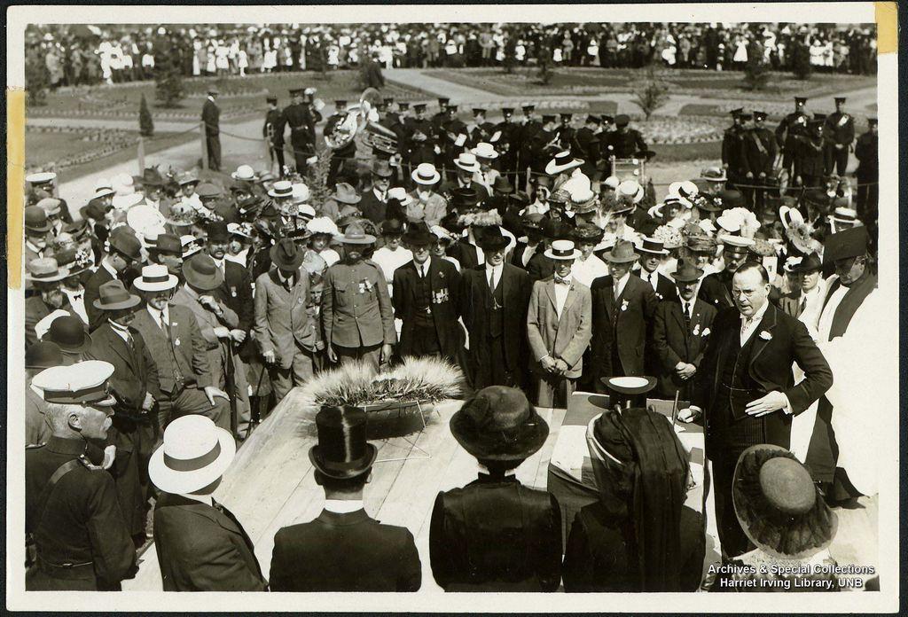 Addressing a large crowd   Circa 1930