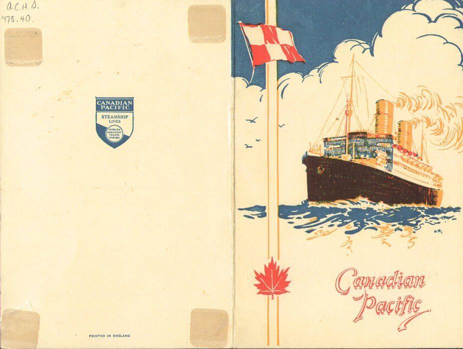 Menu Cover   28 January 1939   R.M.S. Montclare, Halifax, Nova Scotia, Canada