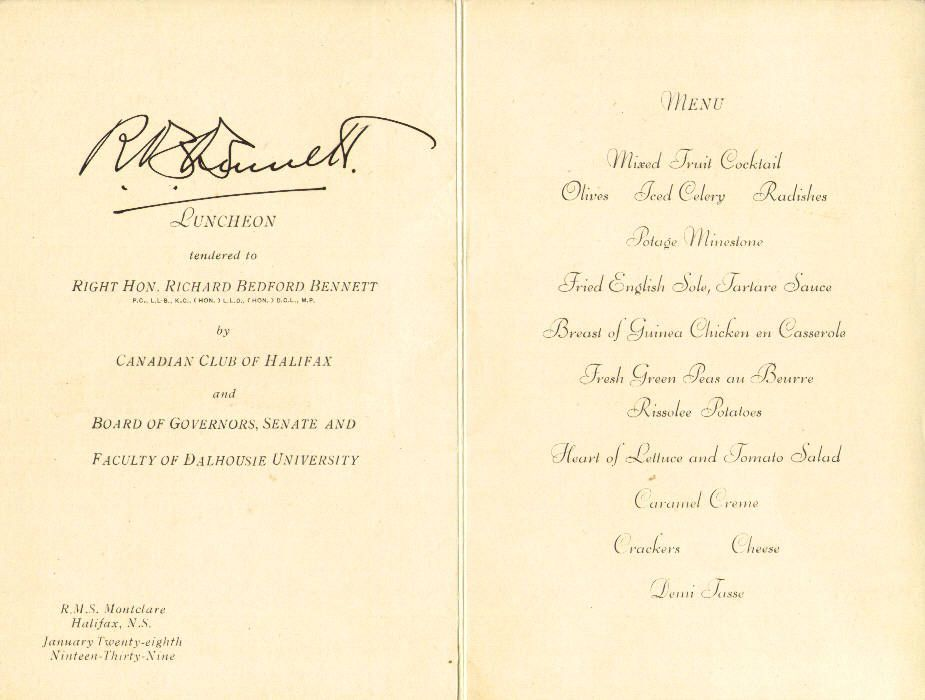 Menu for Dinner   28 January 1939   R.M.S. Montclare, Halifax, Nova Scotia, Canada