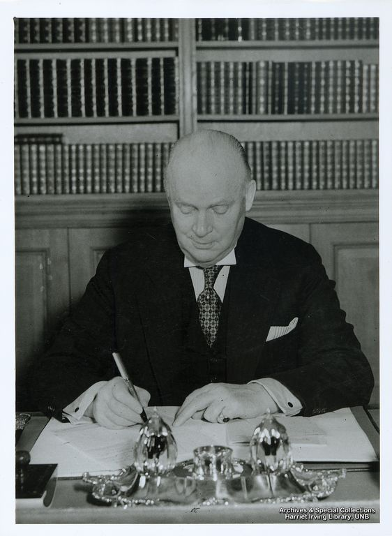 Richard Bedford Bennett in his library at Juniper Hill   Circa 1940   Library, Juniper Hill, Mickleham, Surrey, England