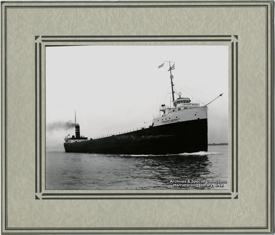 """Colonial Steamships Ltd. of Port Colborne, Ontario, renamed the freighter Berryton to """"Viscount Bennett"""" in March of 1942. She had a lenght of 505 feet, beam of 52 feet and depth of 30 feet with a deadweight carrying capacity of 10,500 tons."""
