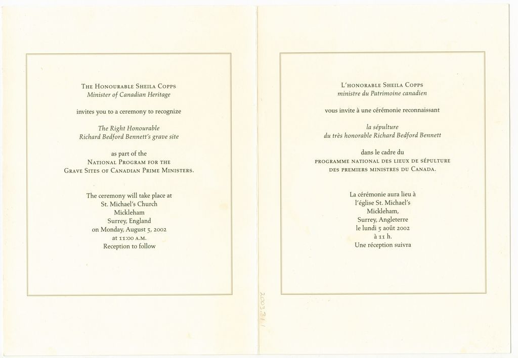 The front and back cover for the invitation to a ceremony to recognize The Right Honourable Richard Bedford Bennett's grave site as part of the National Program for the Grave Sites of Canadian Prime Ministers. A duplicate of the plaque placed at his grave site is on display at the Albert County Museum and Prime Minister Bennett Commemorative Centre in Hopewell Cape, New Brunswick.