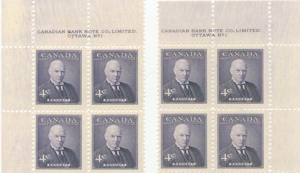 Corner blocks of Bennett 4 cents postage stamps   8 November 1955   Ottawa, Ontario, Canada