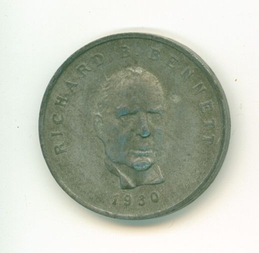 One of a set of coins commemorating Canadian Prime Ministers from 1867 to 1970. These were given to customers of Shell Canada that purchased a fill-up of gasoline and they have no monetary value.