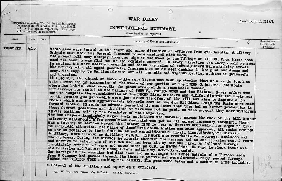 War Diaries 27th Battalion CEF