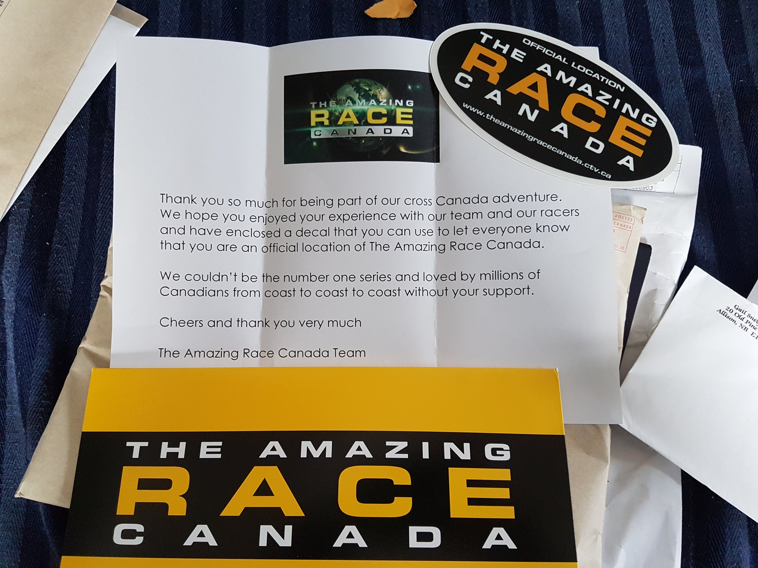 Amazing Race Canada Letter