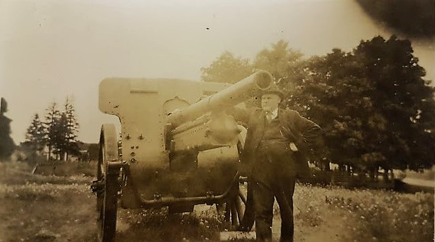 Cannon Captured at Vimy Ridge on Display at Hopewell Cape Square Circa 1920 - Sheriff Ernest W. Lynds in photo.
