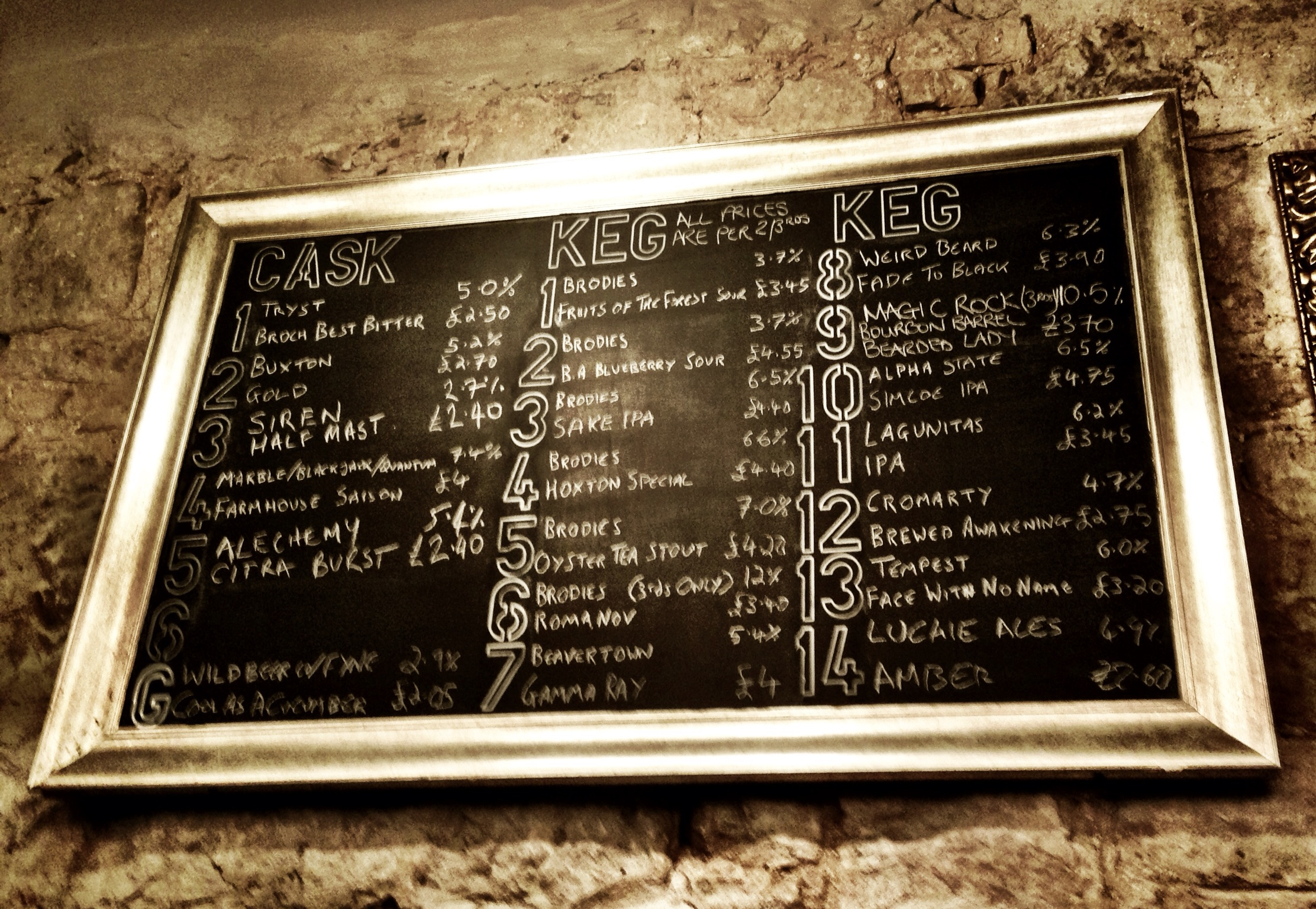 the great tap list at The Hanging Bat in Ediburgh