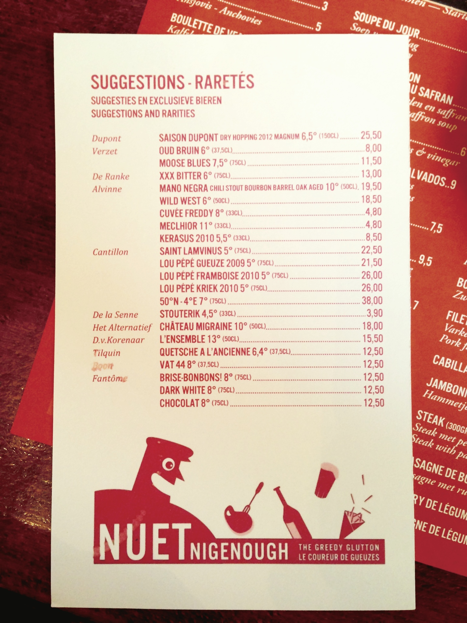 Nuetnigenough (The Greedy Glutton), an amazing beer focused restaurant in Brussels