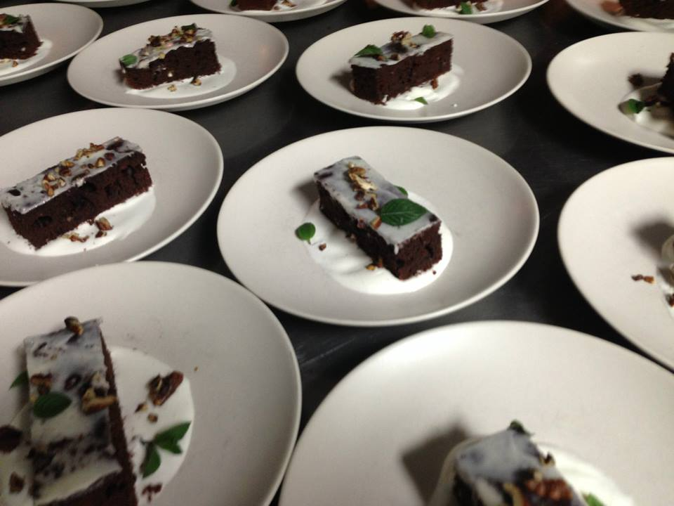 Dessert - a TCHO chocolate  cake with pork fat frosting, smoked cream, candied pecans, and chocolate  mint leaves. Divine with the Sante Adairius Vanilla Joe beer.