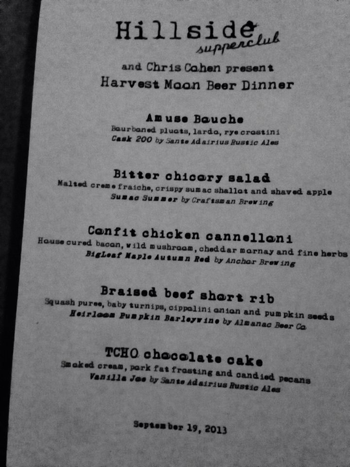 The evening's menu.