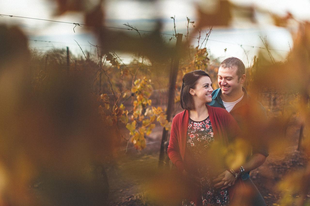 Winery Engagement Photo