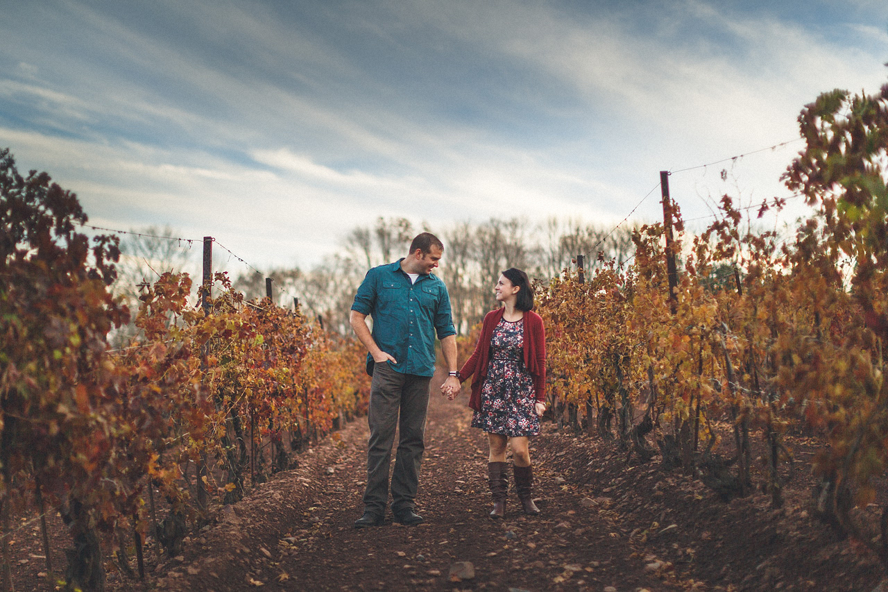 Couple in Winery Engaged