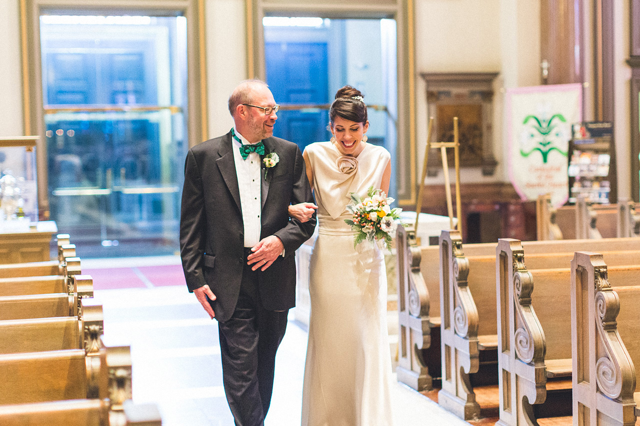 Bride enjoys moment with father